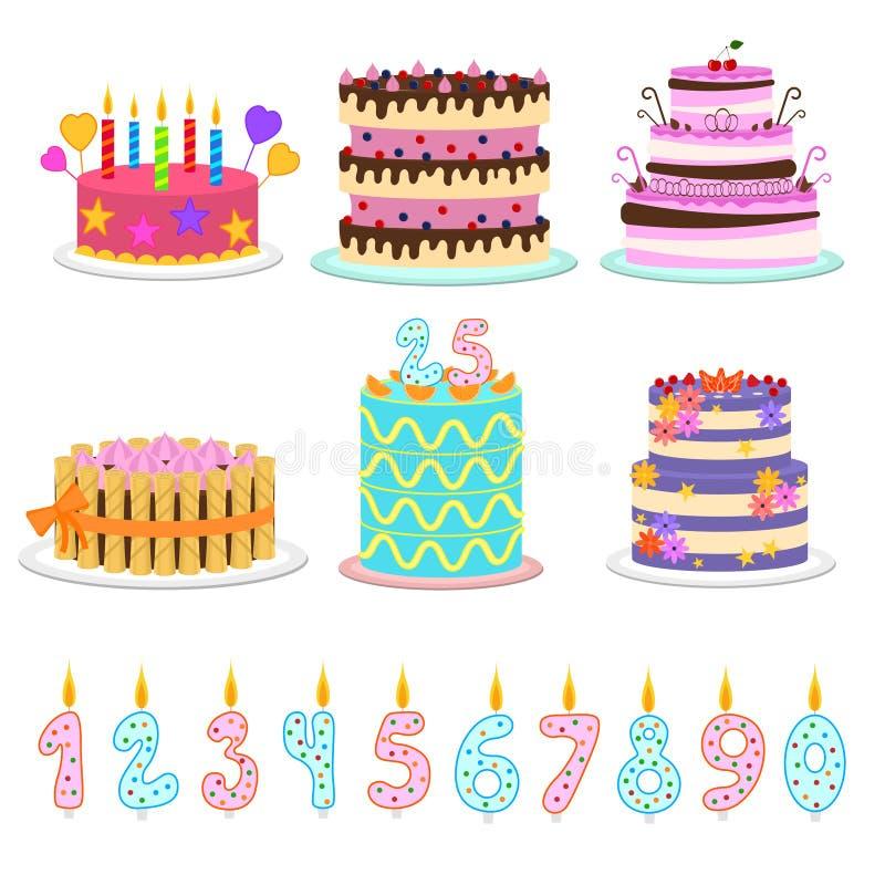 动画片颜色生日蛋糕和元素象集合 向量 向量例证