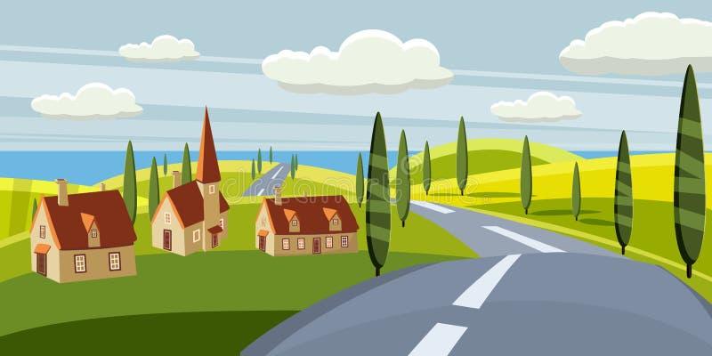 动画片风景与路,higway,乡下和夏天,海,太阳,树,willage,房子 旅行,假期,旅行 皇族释放例证