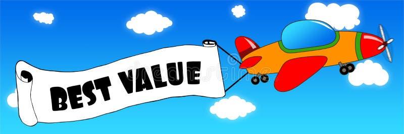 动画片飞机和横幅与最佳的价值在蓝天发短信 库存例证