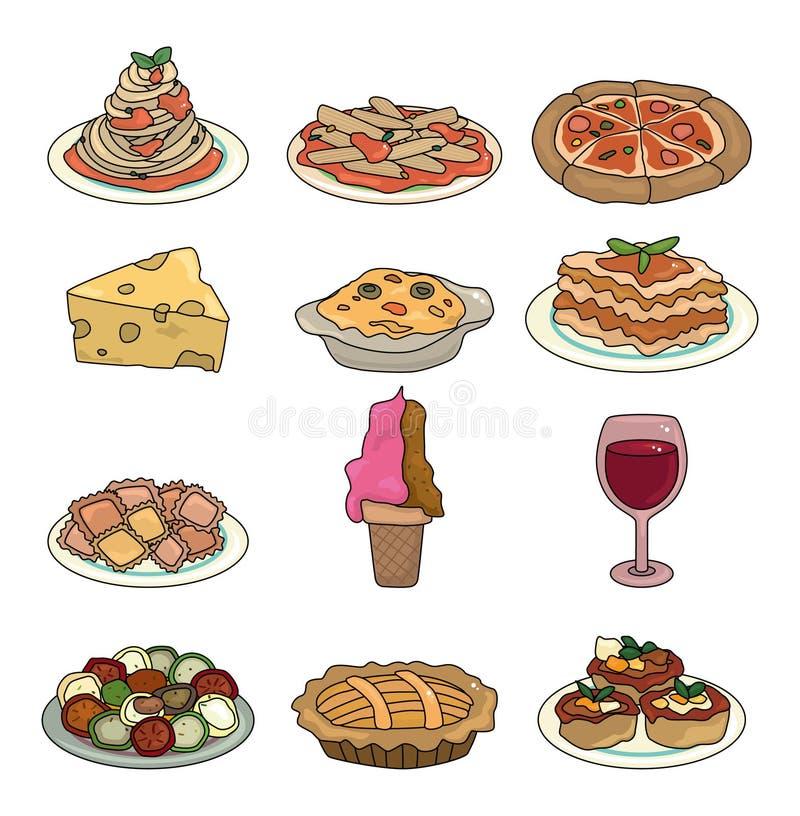 动画片食物图标意大利人集 库存例证