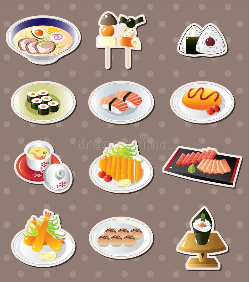 动画片食物日本人贴纸 向量例证