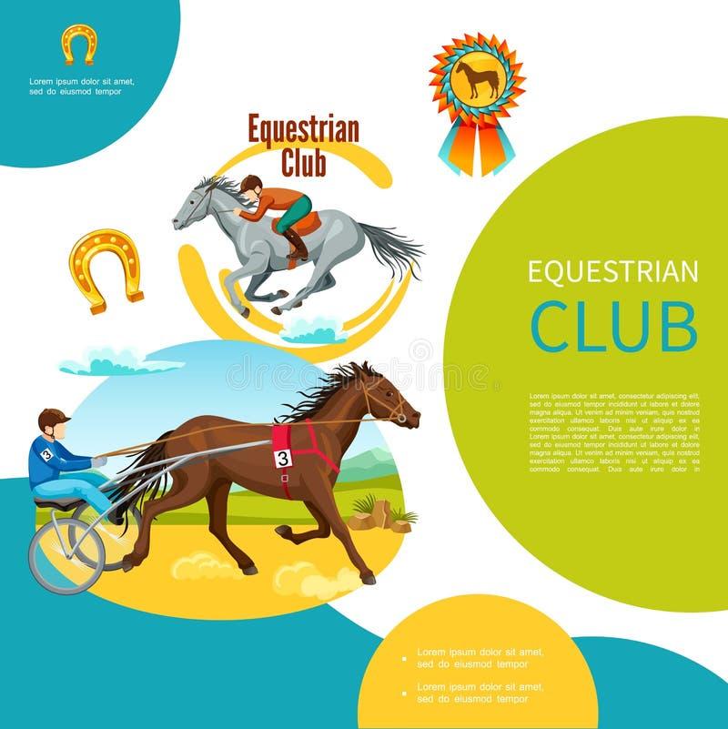 动画片骑马俱乐部五颜六色的模板 向量例证