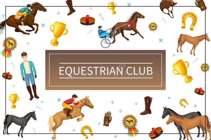 动画片骑马俱乐部概念 皇族释放例证