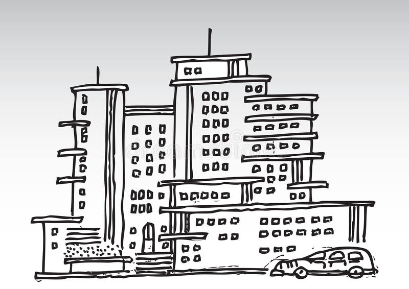 动画片高层建筑物 向量例证