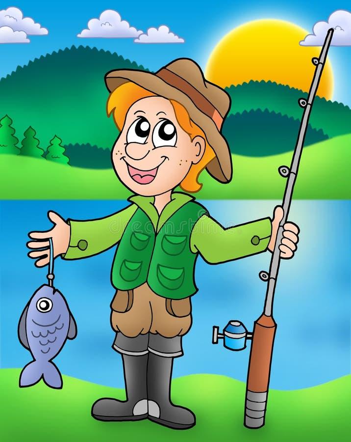 动画片鱼渔夫 向量例证