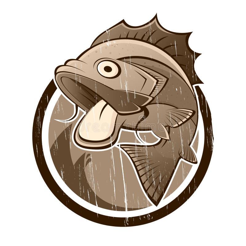 动画片鱼符号葡萄酒 库存例证