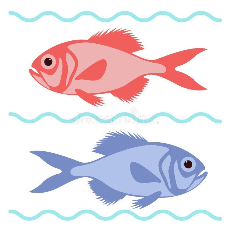 动画片鱼,传染媒介例证,平的样式 皇族释放例证