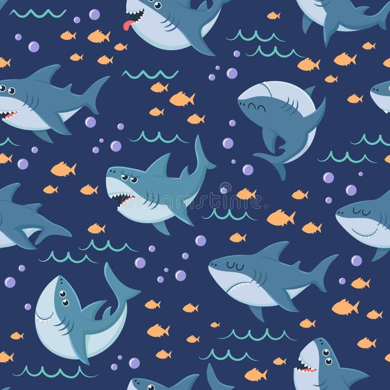 动画片鲨鱼样式 无缝的海洋游泳、海洋鲨鱼和海水中传染媒介背景 皇族释放例证