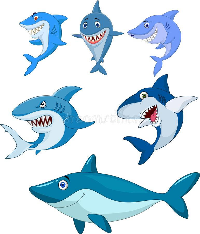 动画片鲨鱼汇集集合 库存例证