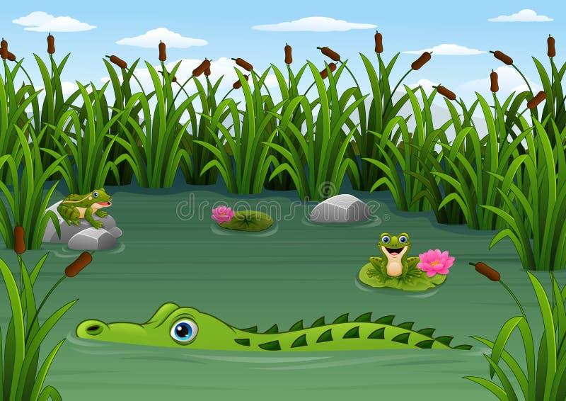 动画片鳄鱼和青蛙在池塘 向量例证