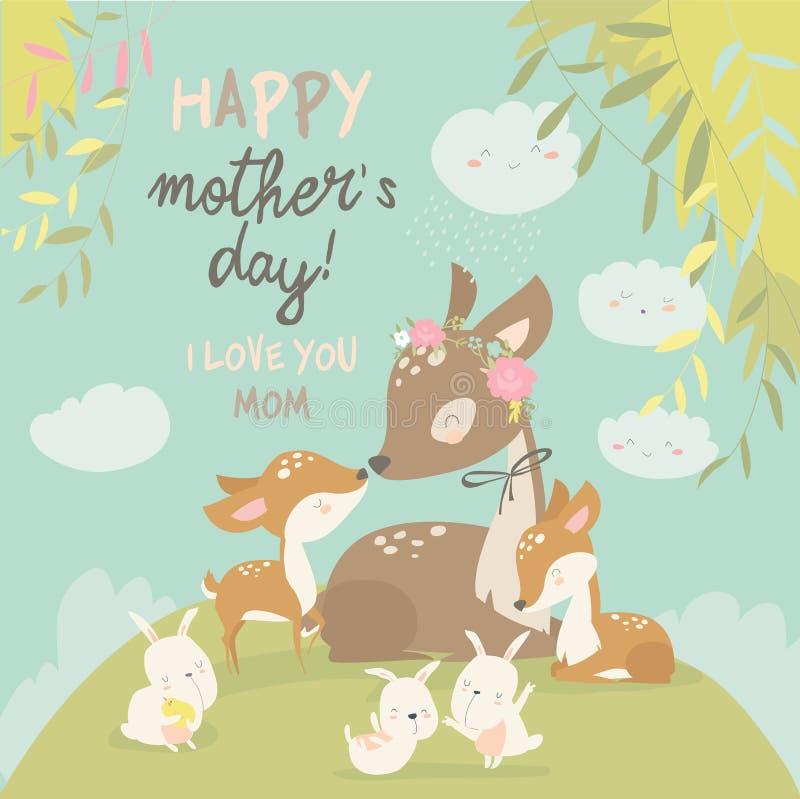 动画片鹿家庭 小母亲 逗人喜爱的动物为母亲节 动物妈妈和婴孩 库存例证