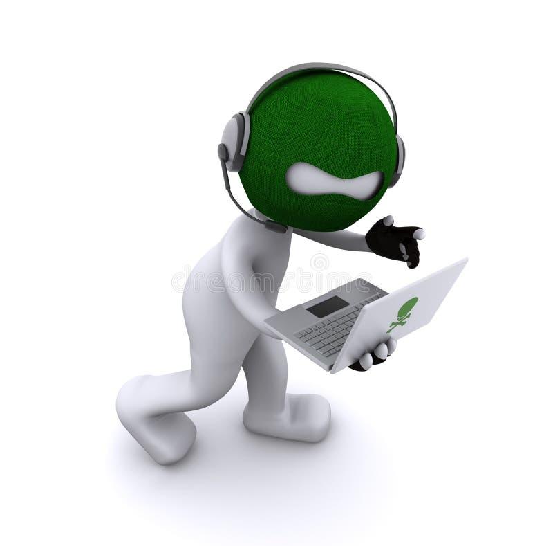 动画片黑客膝上型计算机 向量例证