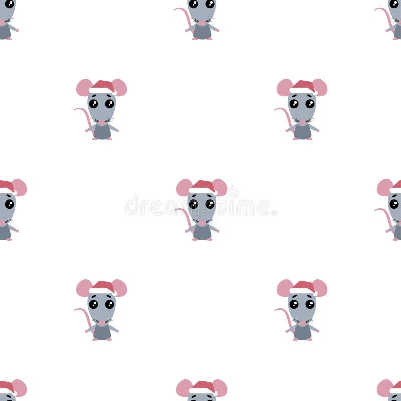 动画片鼠的无缝的样式在白色背景的 库存例证
