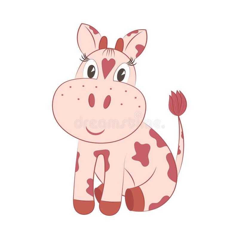动画片 小,被察觉的母牛 库存例证