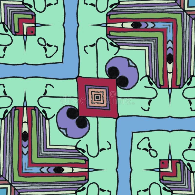 动画片-愉快的面孔幻觉背景 向量例证