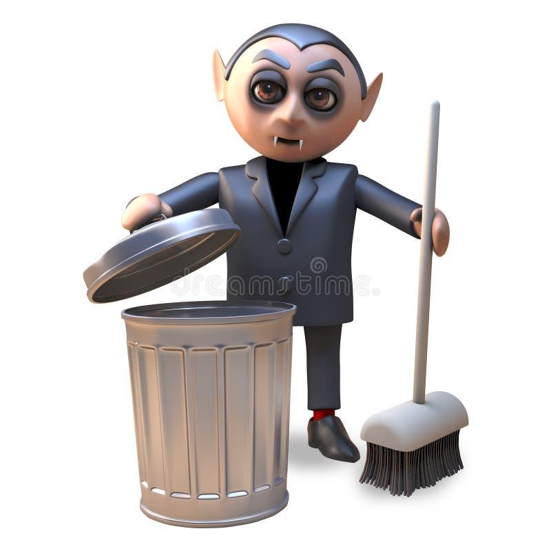 动画片3d万圣节吸血鬼清扫与笤帚和垃圾箱,3d的德雷库拉例证 向量例证