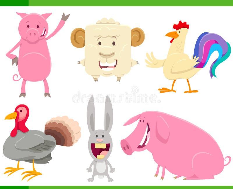 动画片Funny农场动物字符集合 库存例证
