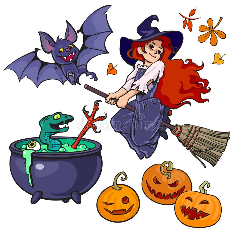 动画片Halloweens集合字符和对象 在笤帚棍子,吸血蝙蝠,大锅,蛇的小的巫婆飞行 库存例证