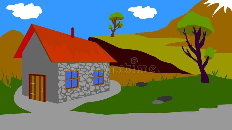 动画的背景,一个小屋 向量例证