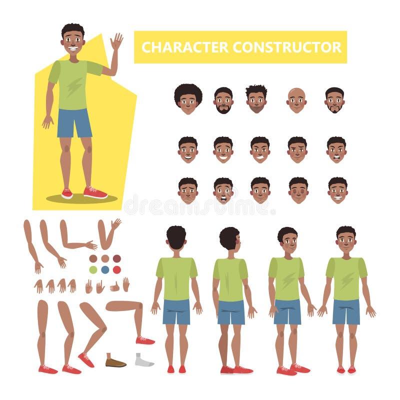 动画的非裔美国人的人字符集 库存例证