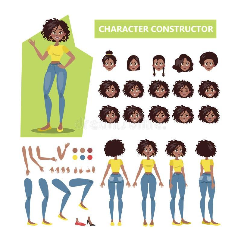 动画的非裔美国人的妇女字符集 皇族释放例证