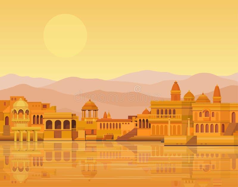 动画风景:古老印度城市:寺庙,宫殿,住宅,河岸 库存例证