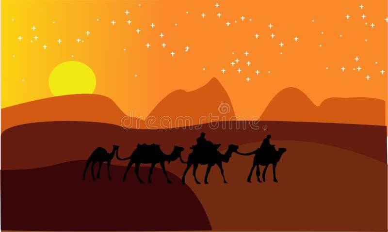动画风景:沙漠,骆驼有蓬卡车  也corel凹道例证向量 - 一个热的沙漠风景例证-图象vectorielles 库存例证