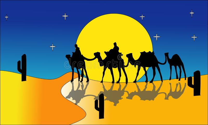 动画风景:沙漠,骆驼有蓬卡车  也corel凹道例证向量 - 一个热的沙漠风景例证-图象vectorielles 2 向量例证