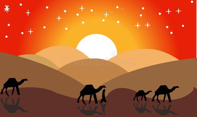 动画风景:沙漠,骆驼有蓬卡车  也corel凹道例证向量 - 图象vectorielles--一个热的沙漠风景例证 向量例证