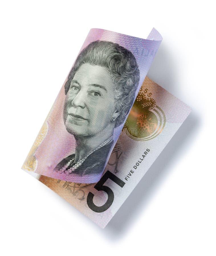 滚动的澳大利亚金钱五美元 免版税库存图片