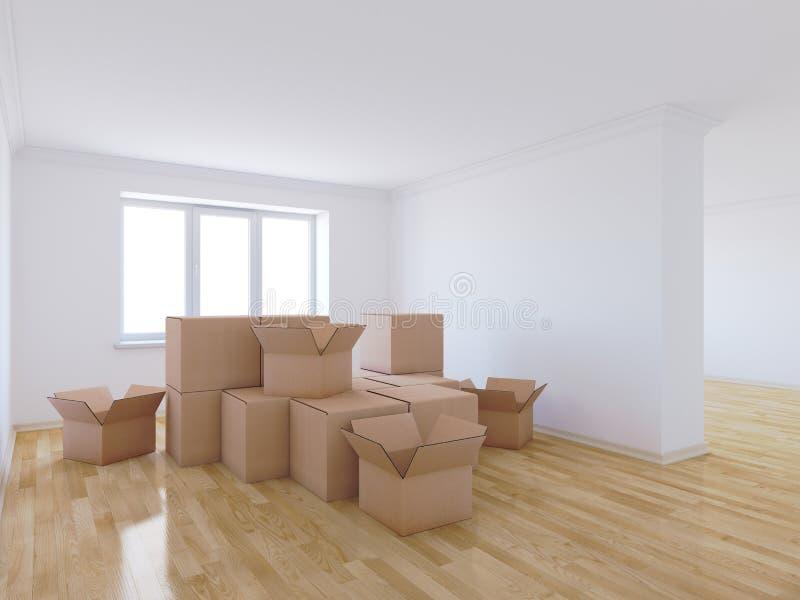 移动的箱子在空的屋子里 向量例证