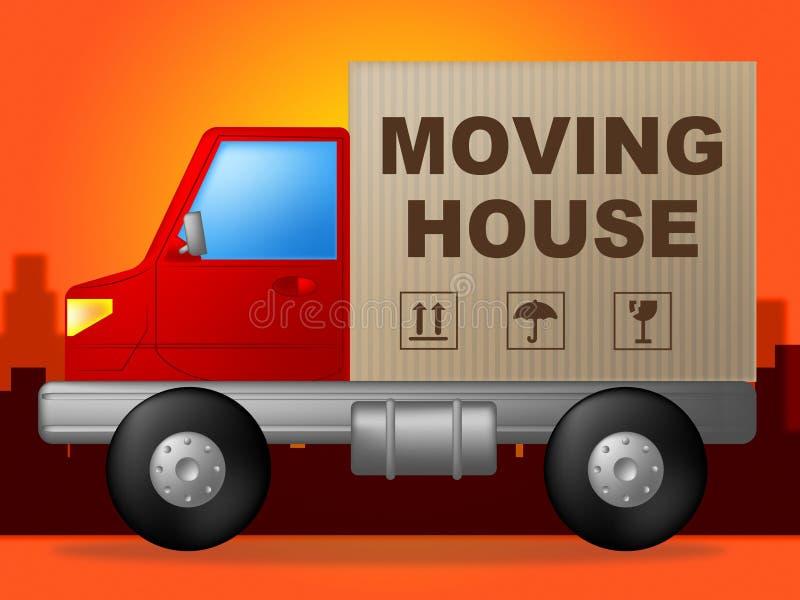 移动的议院表明购买新的家和货物 库存例证