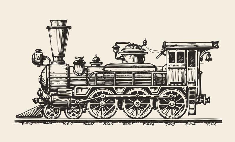活动葡萄酒 手拉的减速火箭的火车 剪影,传染媒介例证 库存例证