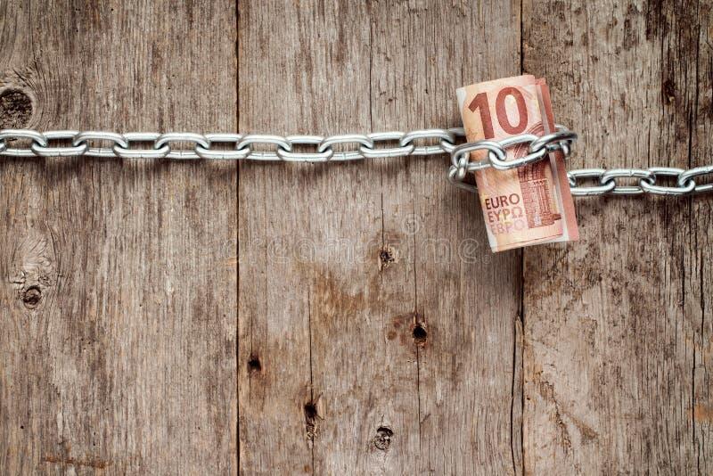 滚动被囚禁十张欧洲的票据 免版税库存图片