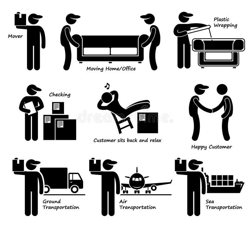 移动议院办公室物品后勤Cliparts象的搬家工人服务 向量例证