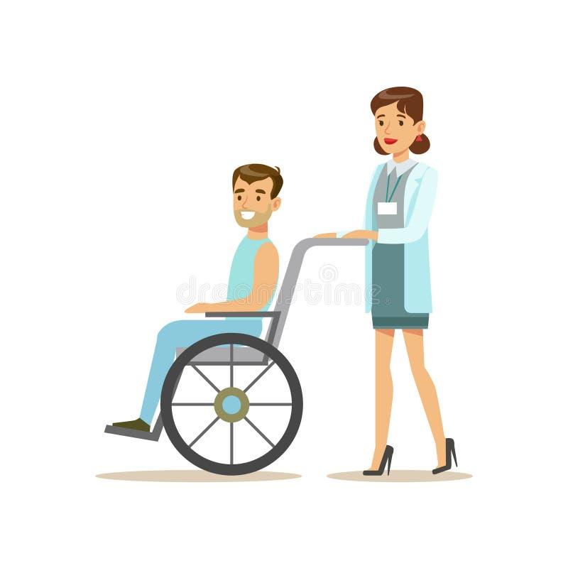 滚动轮椅、医院和医疗保健例证的护士一名患者 库存例证
