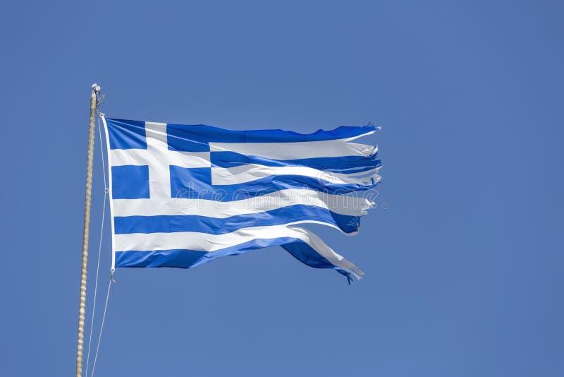 移动风的希腊国旗 免版税库存图片