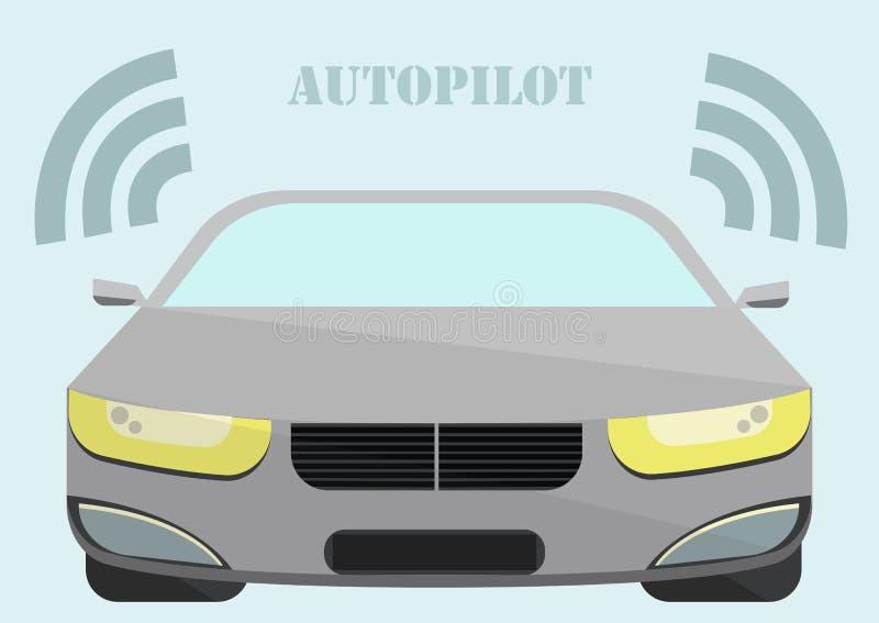 移动,不用与文本自动驾驶仪的一个司机的汽车 库存例证