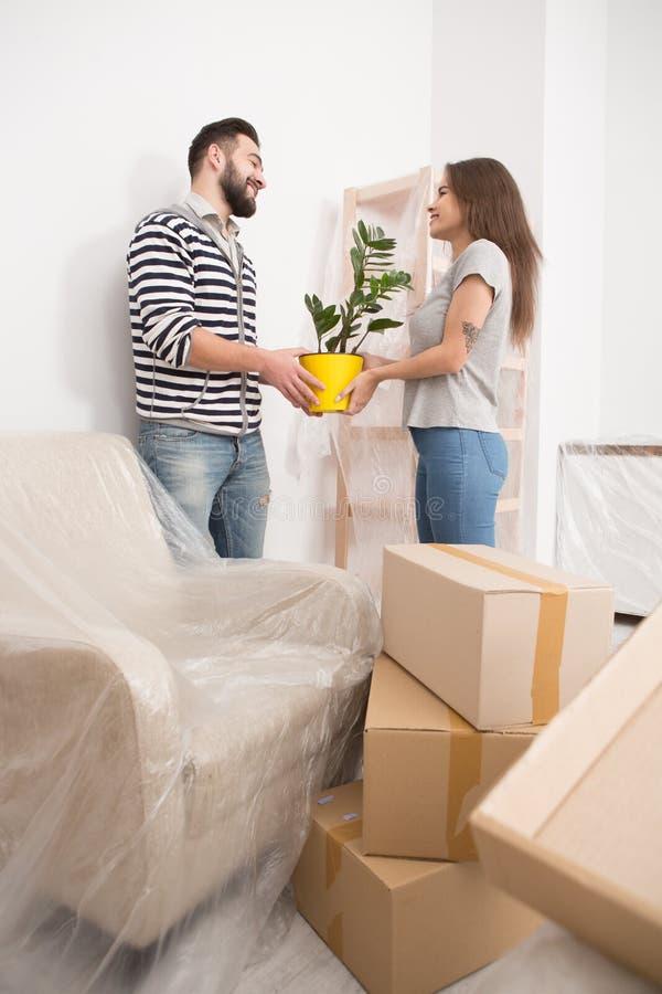 移动,愉快的打开箱子的男性和女性,拿着植物 免版税图库摄影