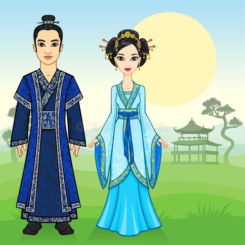 动画中国家庭的画象在传统衣裳的 库存例证