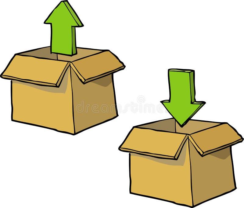 动画片下载箱子 向量例证