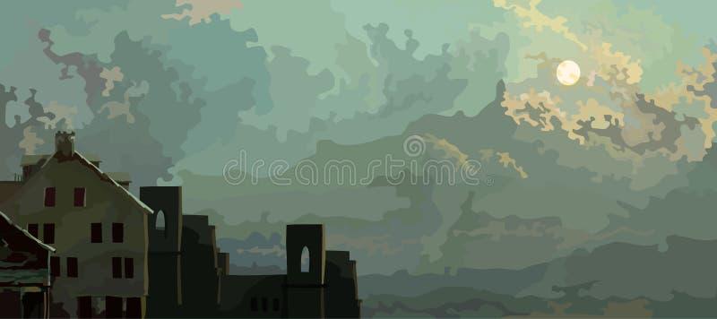 动画片与云彩和老被放弃的房子的天空背景 皇族释放例证