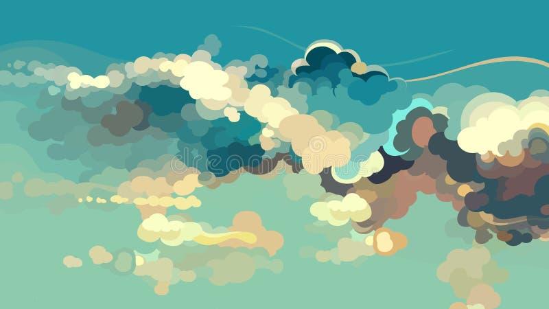 动画片与五颜六色的云彩的被画的蓝天 皇族释放例证