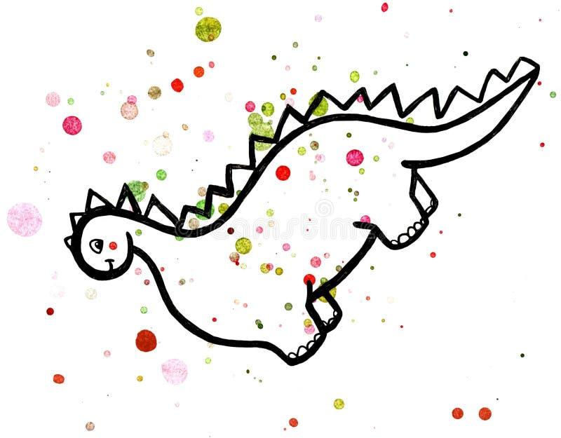 动画片与五颜六色的水彩泼溅物的恐龙例证 皇族释放例证