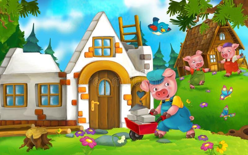 动画片与做不同的猪的猪的童话场面 库存例证