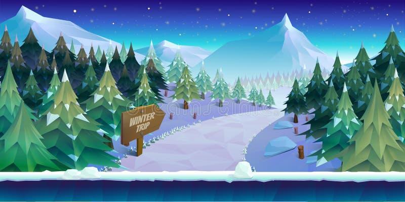 动画片与冰、雪和多云天空的冬天风景 传染媒介比赛的自然背景 库存例证
