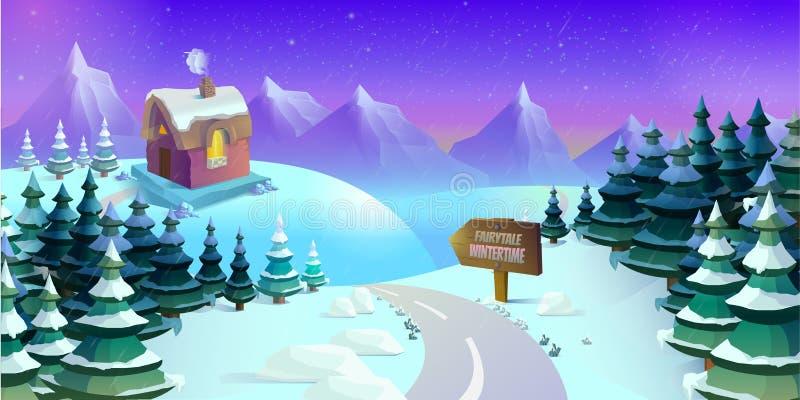 动画片与冰、雪和多云天空的冬天风景 比赛的无缝的传染媒介自然背景 例证 库存例证