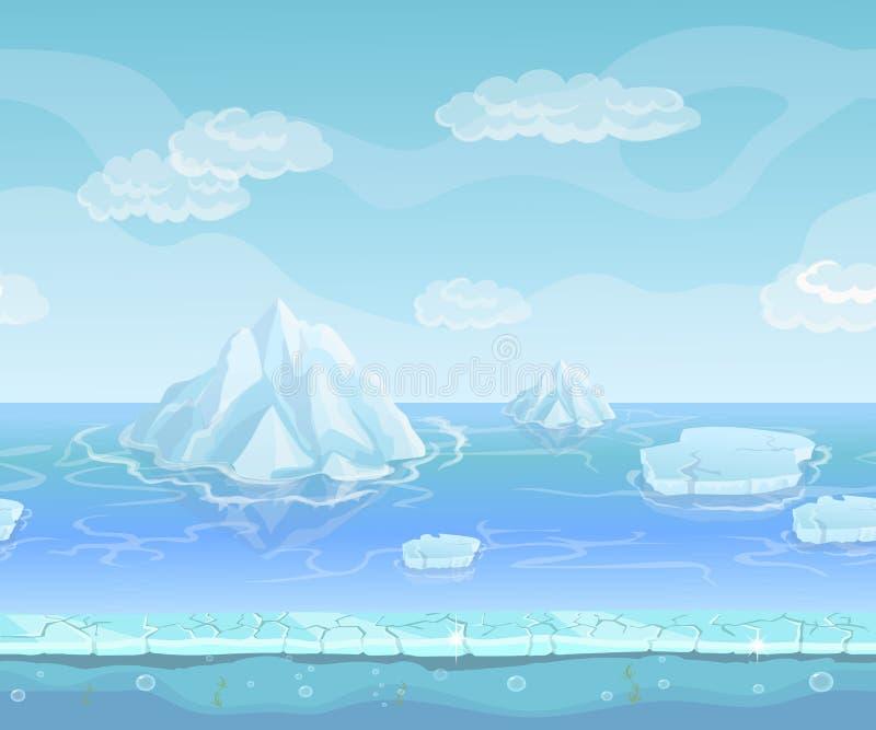 动画片与冰山和冰,雪天空的冬天风景 UI比赛的无缝的传染媒介自然背景 库存例证