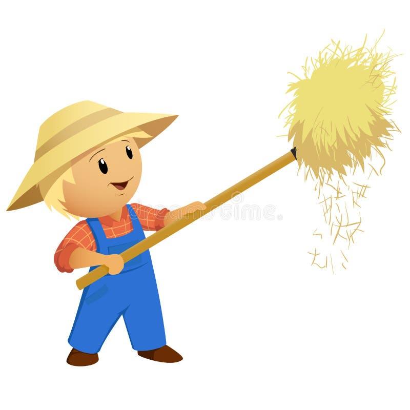 动画片与干草叉的农夫干草 向量例证
