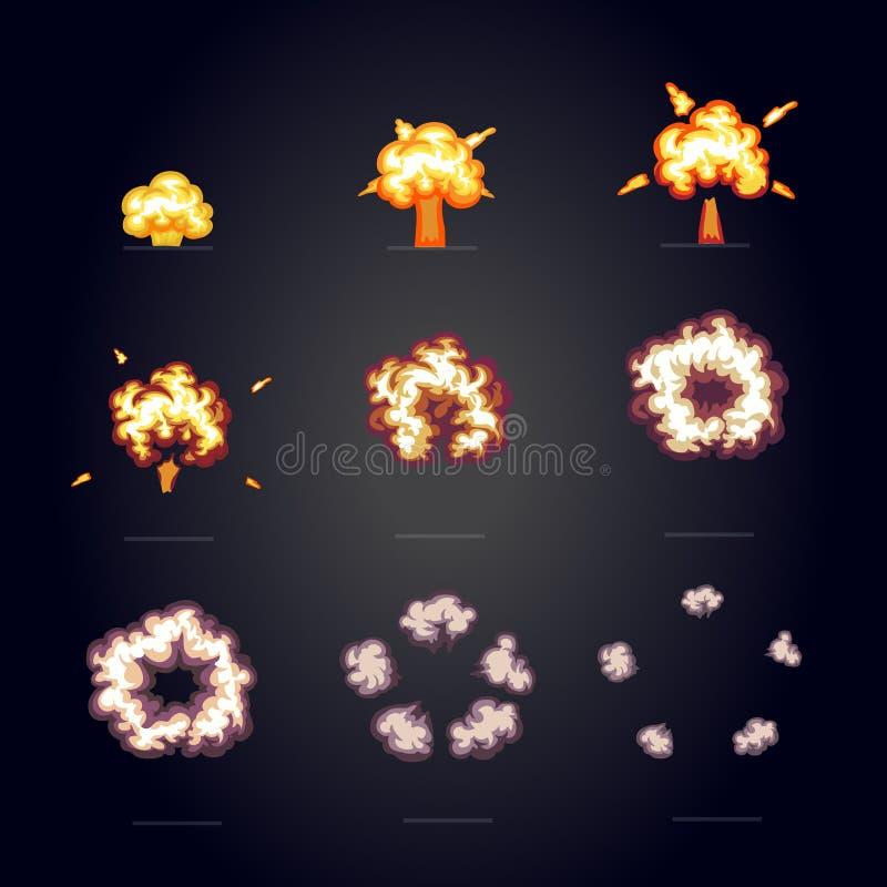 动画片与烟的爆炸作用 景气,爆炸一刹那可笑的框架 向量例证